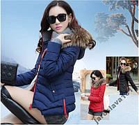 Стильная куртка с контрастными молниями осень зима пуховик мех