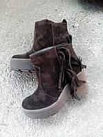 Женские замшевые ботиночки  коричневые.
