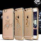 Чехол силиконовый Electroplating Diamond для iPhone 6/6s Swan Gold, Винница, фото 3