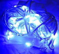 LED гирлянда 100 синих новых ламп,белый кабель