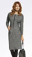 Женское трикотажное платье-футляр цвета серый меланж. Модель 220038 Enny, коллекция осень-зима 2016-2017.