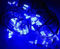 Гирлянда 200 синих новых LED ламп,белый кабель,10 метров