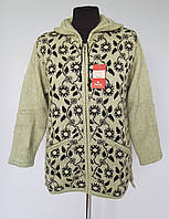 Куртка женская  вязаная на замке с цветами, фото 1