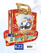 Упаковка праздничная новогодняя из картона Санки, 800гр
