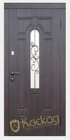 Двери входные металлические Лира со стеклом и ковкой серия Премиум 100