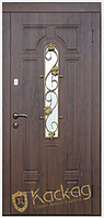 Двери входные металлические Лиана со стеклом и ковкой серия Премиум 100