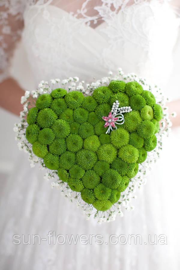 Весільний букет у формі серця зелений