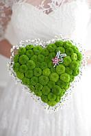 Свадебный букет в форме сердца зеленый