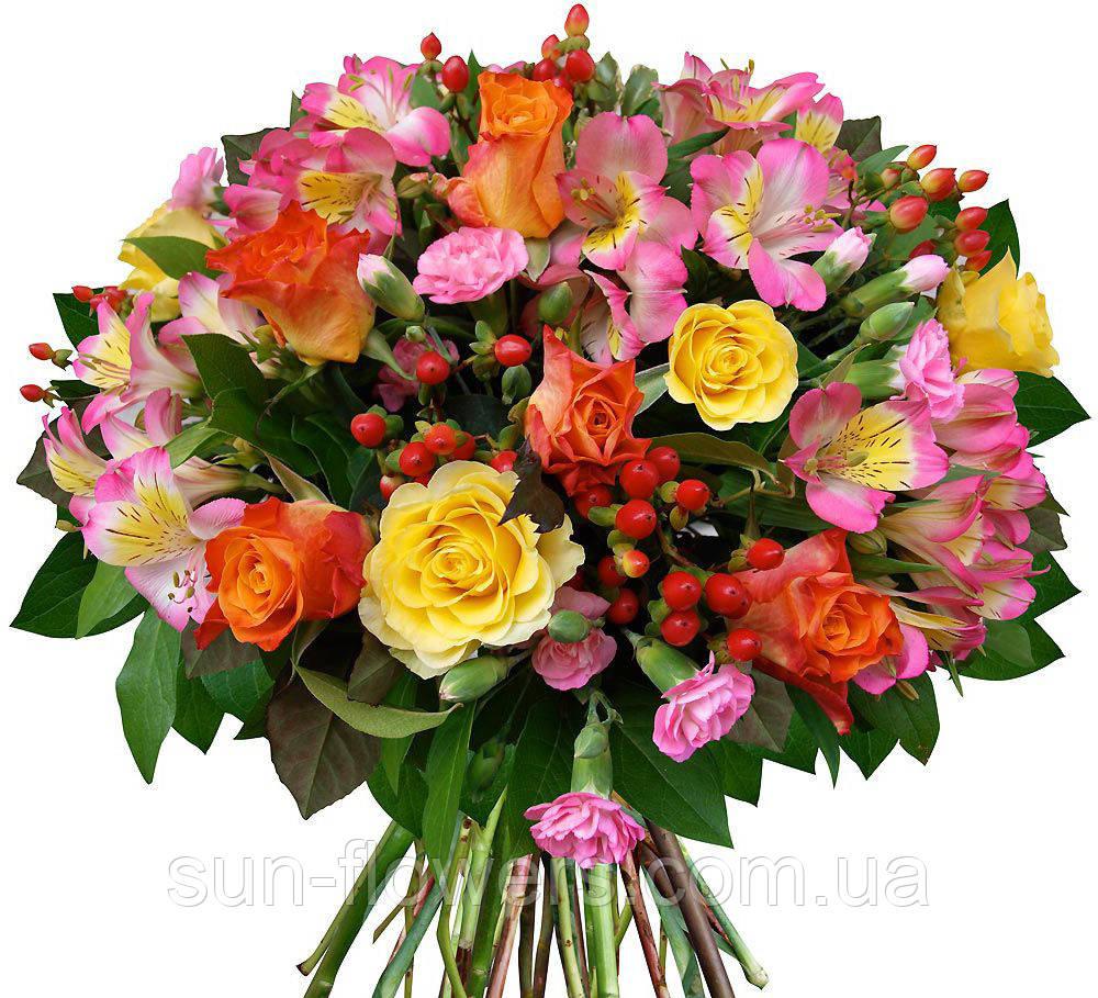 Букет из альстромерий,роз и хиперикума