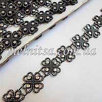Декоративная пластиковая тесьма, цвет черный с серебром, ширина 15 мм