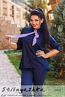 Женская рубашка большого размера с галстуком синяя