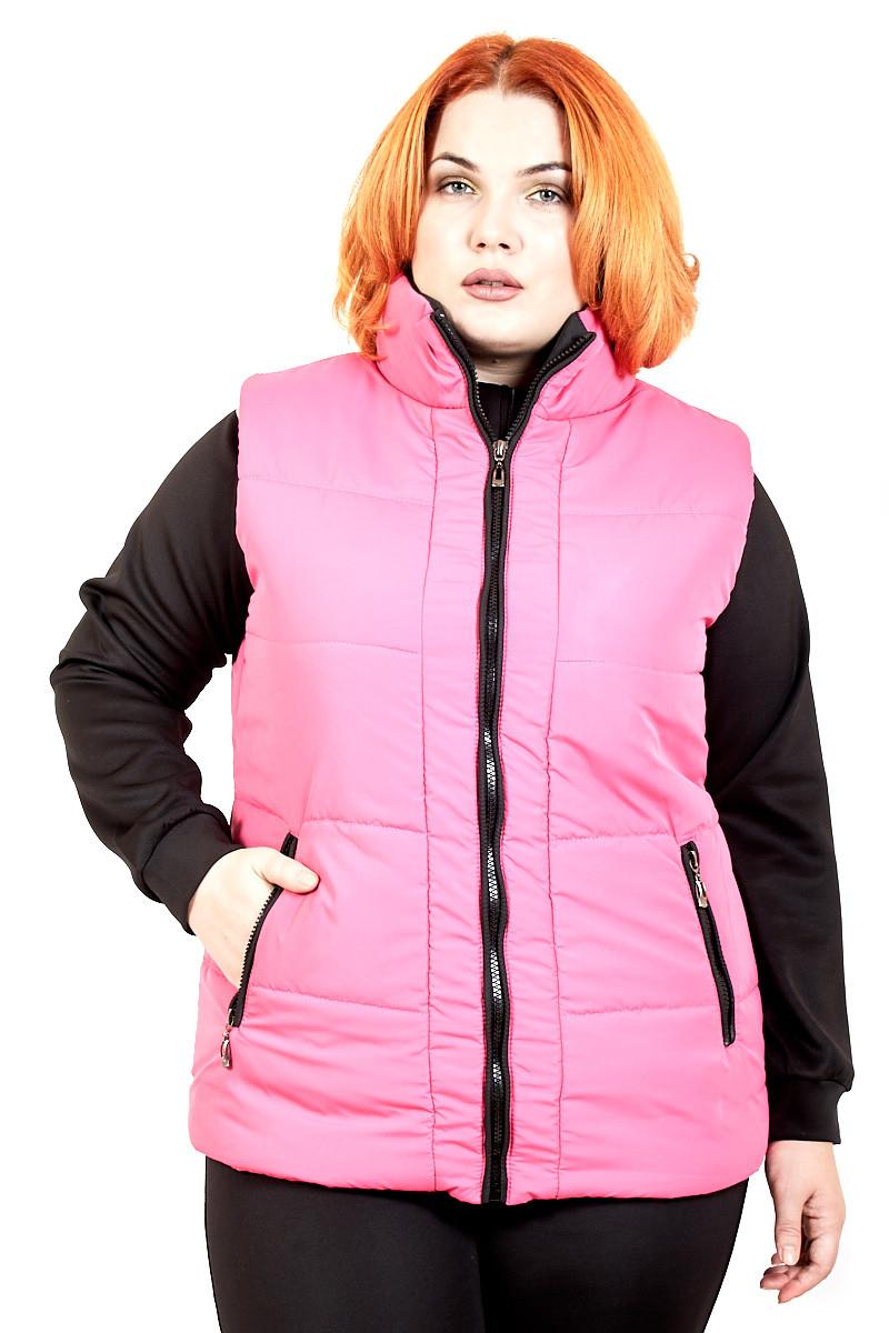 Модный жилет батал  Жанет розовый (50-54)