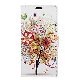 Чехол книжка для LG K5 X220DS боковой с отсеком для визиток, Цветущее дерево и бабочки