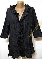 Блузка черная с жабо ALESSA, 42, КАК НОВАЯ!