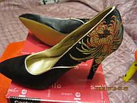 Туфли женские черные атлас классика 38 р вышивка принт 24.5 см стелька