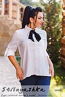 Женская рубашка большого размера с галстуком белая