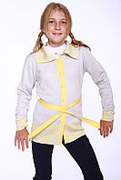Жакет на пуговках  серый с желтым