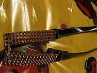 Пояс узкий ремень женский  лаковый черный пряжка шипы золото!шикартный полная распродажа!