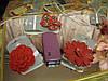 Резинка заколка красный была 4евро ЦВЕТОК вязаный, фото 3