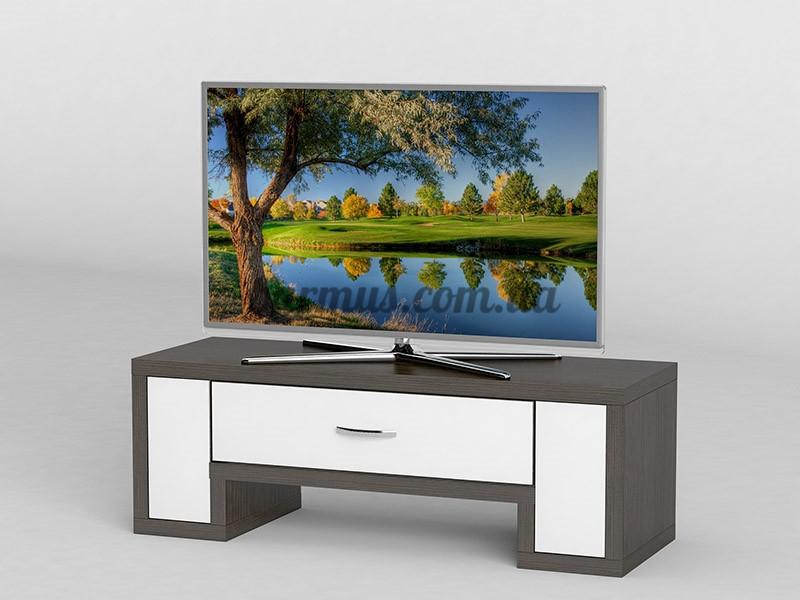 Тумба  ТВ с белыми элементами  АКМ-253 Венге магия + Белый