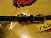 Пояс ремень черный женский шикарный золото узкий бант люкс