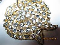 Под золото брошь брошка на сумку декор камни блеск