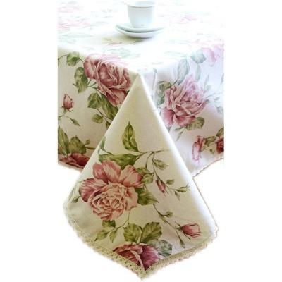 """Скатерть  """"large pink Rose""""с кружевом 220х140 см"""