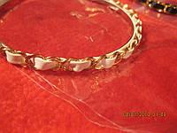Обруч заколка коса новый белый с золотом под кожу!, фото 1