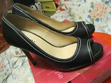 Туфли открытый носсик новые ЧЕРНЫЕ 37 р удобная стильная модель