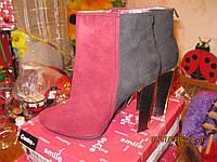 Ботильоны сапоги ботинки полусапожки,41р демисезонные весна-осень БОРДОВЫЕ с черным как замша, фото 1