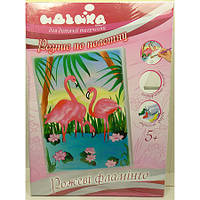 Роспись по полотну Розовые фламинго 25х35 см 7125