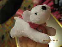 Игрушка мягкая прищепка медведь белый фигурка фирменная