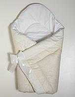 Конверт-одеяло на выписку на липучке с красивым бантом (зимний-демисезонный), 90х90
