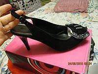 Туфли босоножки женские открытая пятка новые 38.5 черные замша