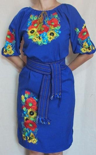 Стильное вышитое платье Подсолнухи электрик