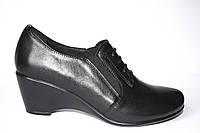 Кожаные туфли на танкетке, комфорт., фото 1