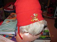Шапка и варежки винипух набор красный флис детский