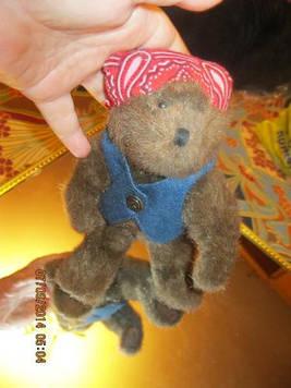 Игрушка мягкая медведь мишка байкер крутой в бандане