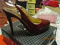 Босоножки туфли женские 39.5 р бордовые гнилая вишня лаковые от ВАЛЕНТИНА ЮДАШКИНА