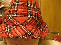 Шляпа красная клетка нетеплая 57-58см, фото 1