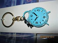 брелок на ключи или сумку металлический часы сувенир камни голубой будильник