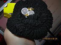 Обруч заколка черным вязаным цветком фирма металл