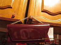 Клатч сумка вишневая замша лак стильный на золот цепочке