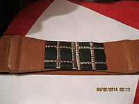 Пояс как новый рыжий коричневый резинка ремень шик, фото 1