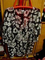 Женская блуза блузка туника накидка КАРДИГАН 50 16 xl черно-белая, фото 1