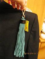 Брелок подвеска аксессуар на сумку натуральная замша кожа-нубук новый хвост зеленый КАРАБИН