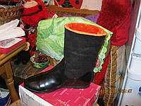 Ботинки сапоги полусапожки женские черные с оранжевым мехом 37р