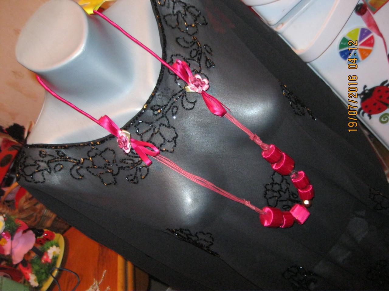 Бусы ожерелье ФУКСИЯ РОЗОВЫЕ шикарное атлас длинные