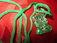 Детская бижутерия МИША зеленый шнурок мишка медведь БУСЫ  игрушка