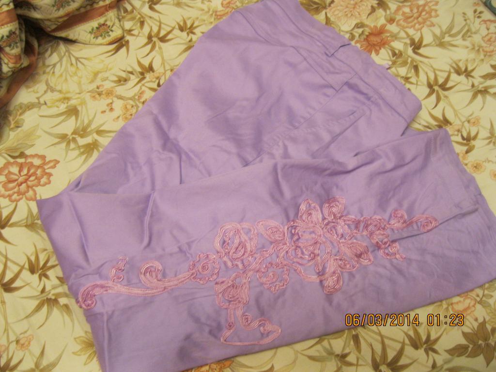 Брюки вышивка 48 М 14 летние ЖЕНСКИЕ фиолетовые сиреневые